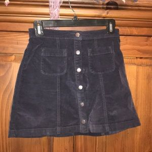 navy button down Urban Outfitters skirt
